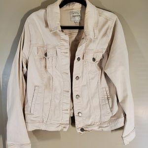 Soft baby pink jean jacket plus 2x